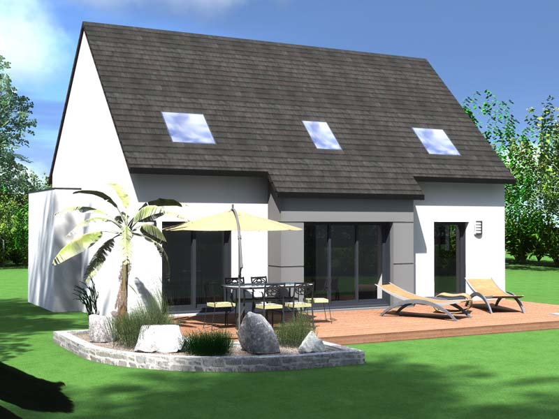 maison traditionnelle vue jardin