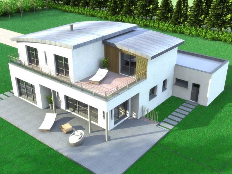 Maison Contemporaine toiture cintrée