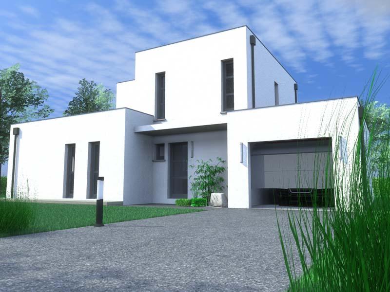 Maisons Contemporaine en  blocs imbriqués toit plat Coté Jardin